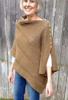 I Want That Wrap button shawl poncho free knitting pattern and more free poncho knitting patterns