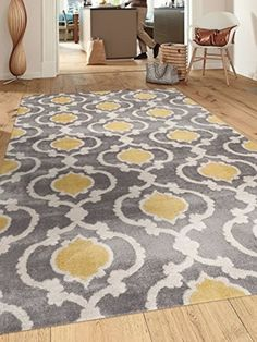 Gray And Yellow Rug Moroccan Trellis Contemporary Modern Indoor Area 5'3 X 7'3  #WorldRugGallery