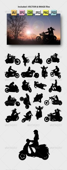 Motorcycle Rider Silhouettes - Sports/Activity Conceptual