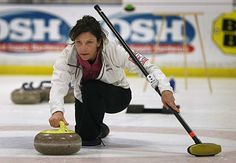 I did a search of CURLING here on Pinterest and found this beautiful shot of my friend Karen who was my team-mate at the USCA Club Nationals.  =-)  Here she is curling at the San Francisco Bay Area Curling Club.