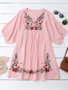 SHARE & Get it FREE | Floral Embroidered V Neck Peasant Dress - PinkFor Fashion Lovers only:80,000+ Items • New Arrivals Daily Join Zaful: Get YOUR $50 NOW!