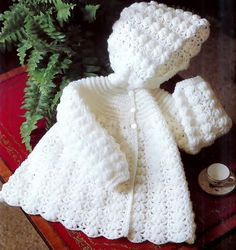 Baby Crochet Hooded Jacket in 4ply for sizes 16 to 20 inches