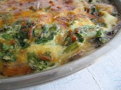 Cheesy Frittata with Spinach, Asparagus and Mushrooms