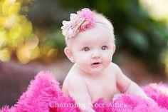 Bella Ballerina Flower Headband in Vintage Flowers and Hot Pink