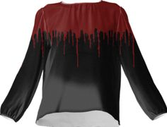 Red Drip Black Silk Top - Available Here: http://printallover.me/products/0000000p-red-drip-black-8