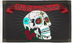 Sugar Skull - Day Of The Dead - Roses Display Flag - Full Sized 3ft x 5ft - Design#042 Spanish Flags, Skull Flag, Potted Geraniums, Flag Store, Holidays To Mexico, Pennant Flags, Banners, Evergreen Flags, Dic