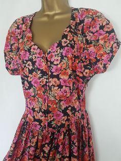 Bright Floral Summer Dress Vintage Laura Ashley Size UK 10 12 Pink Orange Vintage Summer Dresses, Dress Vintage, Summer Beauty, Cotton Skirt, Laura Ashley, Tweed Jacket, White Lace, Floral Tops, Dress Up