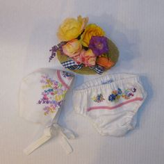 Newborn 0-3 Baby Girl 2pc Hat and Bloomer Cover White  by JackieSpicer on Etsy $36