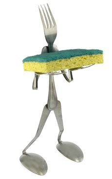 forked up art scrubby sponge holder cool unique kitchen accessory