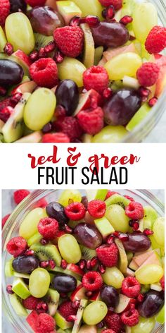 Red and Green Fruit Salad This Christmas Fruit Salad recipe is an easy holiday side dish or dessert! It's made with red and green fruit which makes it the perfect Christmas recipe for those parties, but also perfect any time of year! Christmas Fruit Salad, Christmas Salad Recipes, Best Fruit Salad, Fruit Salad Recipes, Healthy Fruits, Healthy Recipes, Fruit Salad Decoration, Christmas Side Dishes, Green Fruit