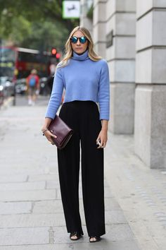 Wear high waisted pants with your rib cut sweater | For more style inspiration visit 40plusstyle.com