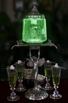 Lady Wings 4/6 Spout Absinthe Fountain Set Includes Glasses Spoons & Sugar Cubes