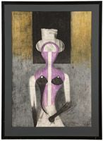 Lot# 1207 Rufino Tamayo (1899-1991 Mexican) ''Mujer con Sombrero (Women with Hat)'', color lithograph on Arches paper under glass, paper size: 37'' H x 26'' W, est: $1000/2000 *Price Realized: $2,756.25