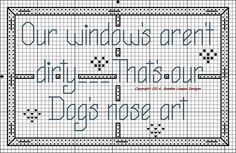 """Nose Art"" Finished size is 59w x 37h. Another one of my original design's. Choose your own colors for the window frame, nose prints and words."