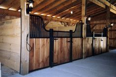 Stable interior with rafters