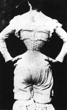 """""""Victorian wasp waist - wow.  Girls started wearing """"training corsets"""" (much like training bras today) around 10-11. It cinched them in and got them ready for this. Broken ribs, organ rupture, etc.  All for """"beauty""""."""" looking at what women in the victorian age had to go through for 'beauty' is horrifying #apeurovictoria"""