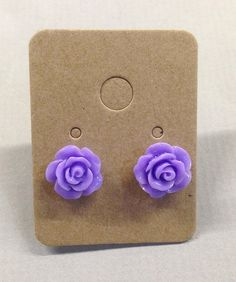 Purple Resin Rose Cabochons 10mm Earrings by RatDogInk on Etsy