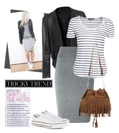 """""""Pencil Skirt and Sneakers"""" by joyfulnoise1052 on Polyvore featuring Converse, Alexander McQueen, rag & bone and TrickyTrend"""