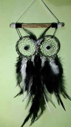 Owl shaped black and white dream catcher