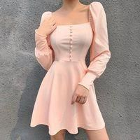 Square collar dress fashion wild button simple skirt · FE CLOTHING · Online Store Powered by Storenvy Simple Dresses, Cute Dresses, Casual Dresses, Fashion Dresses, Prom Dresses, Dresses With Sleeves, Long Sleeve Vintage Dresses, Girly Girl Outfits, Black Dress Outfits