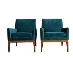 Midcentury teal velvet chairs