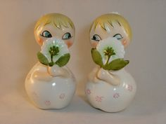 This vintage Holt Howard salt and pepper shaker pair is a great kitchen collectible. These little girls are so cute! Holt Howard produced many salt