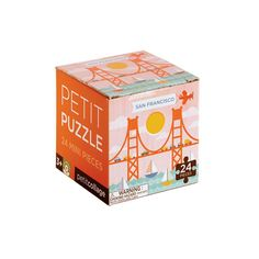 """Featuring the San Francisco landmark, The Golden Gate Bridge, this mini 24-pc puzzle is great for party favors, or travel fun! The finished puzzle measures 6""""x6"""