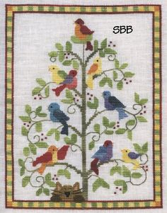 The Singing Tree, Stitching Bits and Bobs Cross Stitch Tree, Cross Stitch Patterns, Australian Birds, Vintage Embroidery, Cross Stitching, Needlework, Elsa, Singing, Bobs