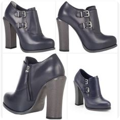 """Fendi Chaemeleon Boots Smooth navy calfskin platform ankle booties with lizard-stamped leather 4.5"""" heel, double buckle straps with polished silvertone roller buckles, textured welt, leather sole. Made in Italy. Glently used--slight markings on top of heels, see image. FENDI Shoes Ankle Boots & Booties"""