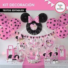 Orejas Minnie Rosa: decoración de fiesta. KIT IMPRIMIBLE TODO BONITO