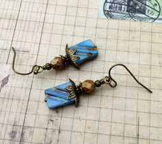 Blue Earrings Brown Earrings Antique Gold by SmockandStone on Etsy