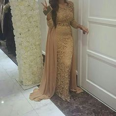 2018 Champagne Dubai Arabia Long Sleeves Straight Evening Dresses With Detachable Train Beaded Crystal Full Lace Prom Dresses(China) Muslim Evening Dresses, Long Sleeve Evening Dresses, Evening Party Gowns, Women's Evening Dresses, Arab Fashion, Islamic Fashion, Muslim Fashion, Prom Girl Dresses, Pretty Prom Dresses