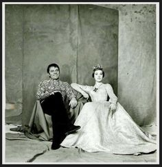 Richard Burton and Julie Andrews in a publicity shot for the Broadway production of Camelot, 1960