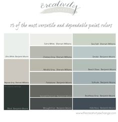 15 of the Most Versatile and Dependable Paint Colors {All Star List} 15 of the most versatile and dependable paint colors. All star colors that always work well in different lighting situations. The Creativity Exchange Bathroom Paint Colors, Wall Paint Colors, Interior Paint Colors, Paint Colors For Home, Room Colors, House Colors, Gray Paint, Interior Painting, Most Popular Paint Colors