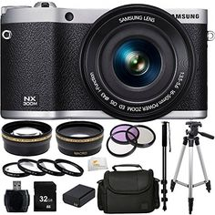 Samsung NX300M 20.3MP CMOS Smart WiFi & NFC Compact Interchangeable Lens Digital Camera with 16-50mm Lens and 3.3″ AMOLED Touch Screen (Black) + 32GB Bundle 16PC Accessory Kit. Includes Wide Angle & Telephoto Lenses + 3 Piece Filter Kit (UV-CPL-FLD) + 4 Piece Filter Kit (+1,+2,+4,+10) + 32GB Memory Card + Reader + Extended Life Replacement Battery (BP-1130) + Carrying Case + Full Size Tripod + Monopod + Microfiber Cleaning Cloth   Samsung NX300M 20.3MP CMOS Smart WiFi & NFC Compact I..