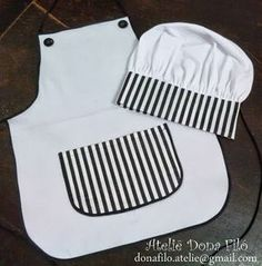 Sewing Projects For Kids, Sewing For Kids, Diy For Kids, Chef Costume, Monthly Baby Photos, Hat Tutorial, Cute Aprons, Sewing Aprons, Kids Apron