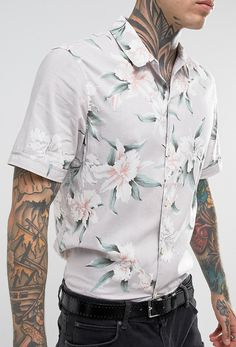 AllSaints Regular Fit Short Sleeve Shirt With Floral Print from ASOS (men, style, fashion, clothing, shopping, recommendations, stylish, menswear, male, streetstyle, inspo, outfit, fall, winter, spring, summer, personal)