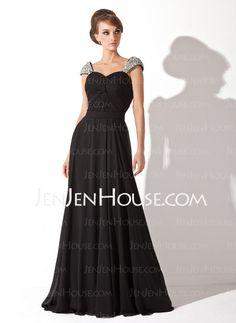 Evening Dresses - $129.99 - A-Line/Princess Sweetheart Chapel Train Chiffon  Charmeuse Evening Dresses With Ruffle  Beading (017005826) http://jenjenhouse.com/A-line-Princess-Sweetheart-Chapel-Train-Chiffon--Charmeuse-Evening-Dresses-With-Ruffle--Beading-017005826-g5826