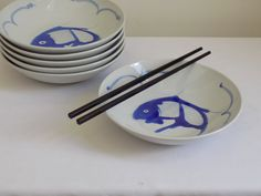 Vintage Chinese porcelain, set of 6, blue Koi fish soup bowls 8 diameter. Each bowl features a symbolic Koi Fish (good fortune and