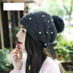 Click to Buy    New Pearl Poms Beanies Bonnet Hat Winter Warm Knitted ebb2242e57d