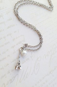 Eiffel Tower Jewelry, Paris Necklace, Faux Pearl Necklace, Silver Necklace, Eiffel Tower Pendant, Christmas Gifts, Stocking Stuffers, Womens