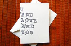 """I and Love and You"" - Avett Brothers Greeting Card by PortlandAve on Etsy"