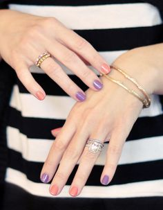 coral and purple nails- alternating colors manicure by ...love Maegan, via Flickr