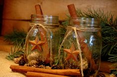 Rustic set of 2 Mason Jars with Barn Stars by PineknobsAndCrickets, $15.00