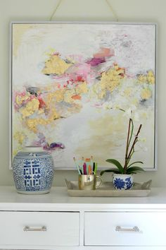 Gold Leaf Art | Live Love DIY I've been looking for a giant piece of abstract art for my lounge, but so far all the pieces I love are either teeny tiny (but in my budget) or huge and perfect (but ridiculously priced, like… I could buy a new couch for...