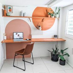 Home Office Design, Home Office Decor, House Design, Home Office Paint Ideas, Office Desk, Office Mural, Interior Office, Decoration Inspiration, Wall Paint Inspiration