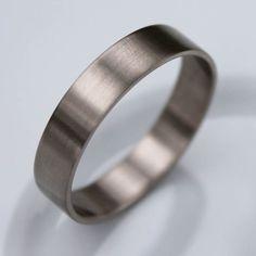 Narrow and Slim 14k Palladium White Gold Men's Wedding Band - Brushed or Shiny finish - Modern Wedding Ring on Etsy, $405.00
