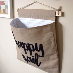 Wall Pocket. Happy Mail Holder. Storage for letters by melliemakes