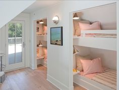BunkBed Room. Bunkbeds in a closet, shelves/lamps Paint Color here is Benjamin Moore White Dove.