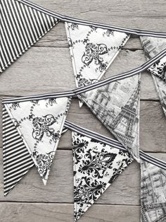 Paris Nights theme room decor bunting black by SummerLimeDesigns, $14.95